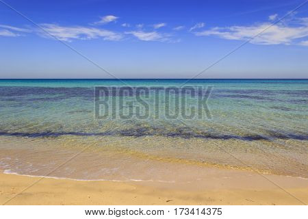 The Regional Natural Park Dune Costiere,(Apulia) ITALY. Sea horizon: view from a sandy beach. The park covers the territories of Ostuni,Torre Canne and Fasano along eight kilometers of coastline.