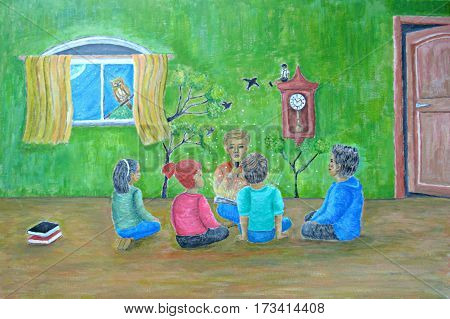 story teller, telling a fantasy story painting