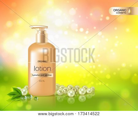 Organic cosmetic shining background with gold  bottle of lotion for skin hydration and nutrition in realistic style vector illustration