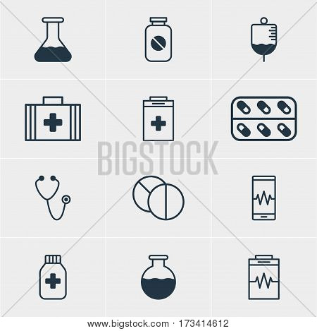 Vector Illustration Of 12 Medicine Icons. Editable Pack Of Aspirin, Medicine Jar, Phone Monitor And Other Elements.