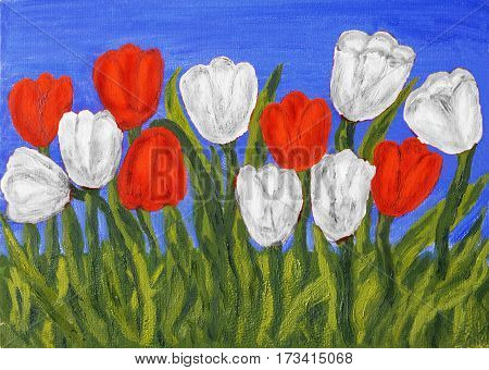 Hand painted picture, oil painting, red tulips on blue sky. Size of original 35 x 25 sm.