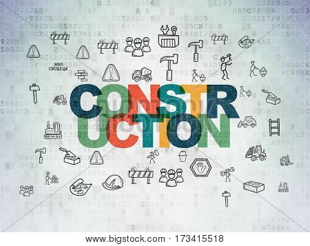 Constructing concept: Painted multicolor text Construction on Digital Data Paper background with  Hand Drawn Construction Icons