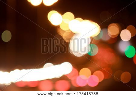 Beautiful lights streets with bokeh effect. Night city.