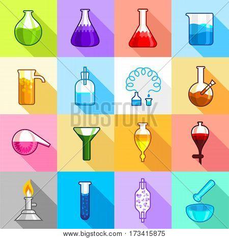 Chemistry laboratory icons set. Flat illustration of 16 chemistry laboratory vector icons for web