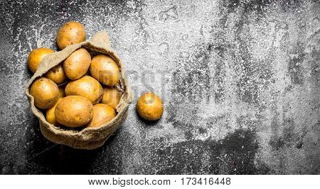 Potatoes In An Old Sack. On Rustic Background.