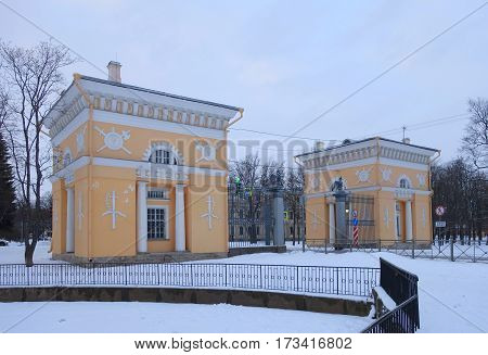 Winter day and Moscow gates in Tsarskoye Selo