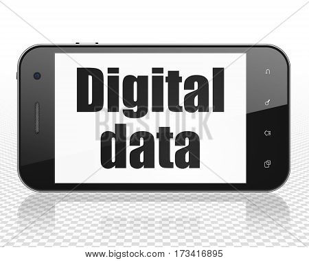Data concept: Smartphone with black text Digital Data on display, 3D rendering