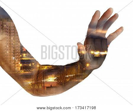 Hand men. Double Exposure.On a white background
