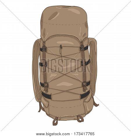 Vector Single Cartoon Hiking Backpack