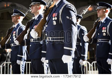 NEW YORK - 11 NOV 2016: US Air Force personnel, USAF march in Americas Parade up 5th Avenue on Veterans Day in Manhattan.