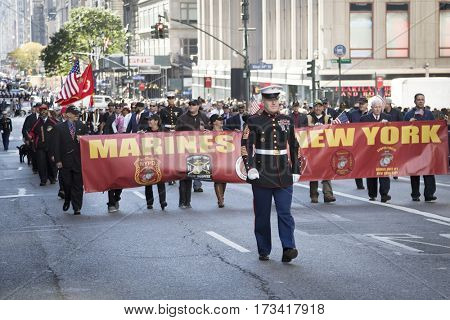 NEW YORK - 11 NOV 2016: US Marine Corps, USMC march in Americas Parade up 5th Avenue on Veterans Day in Manhattan.