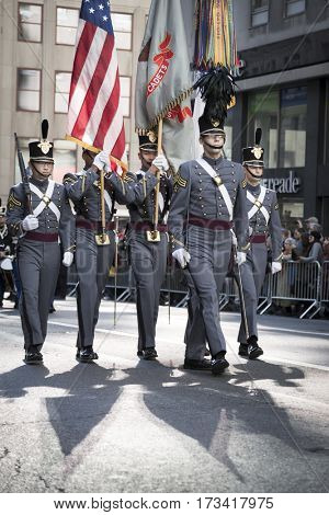 NEW YORK - 11 NOV 2016: West Point cadets march in Americas Parade up 5th Avenue on Veterans Day in Manhattan.