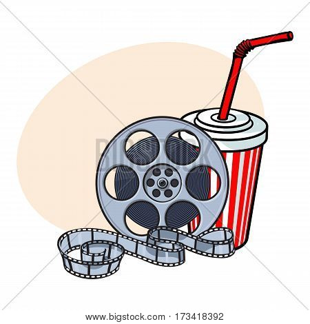 Cinema attributes - retro style film reel and soda water in paper cup, sketch vector illustration with place for text. Drink in paper cup and film reel, cinema attribute, object
