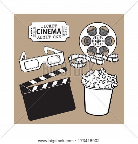 Cinema, movie objects - popcorn bucket, film roll, ticket, clapper board and 3d glasses, cartoon vector black and white illustration isolated on brown background. Set of cinema, movies symbols, icons