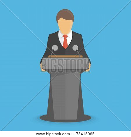 Orator speaking from tribune. Vector illustration of business conference or public speaker in modern flat style. Man making a report from podium. EPS 10.