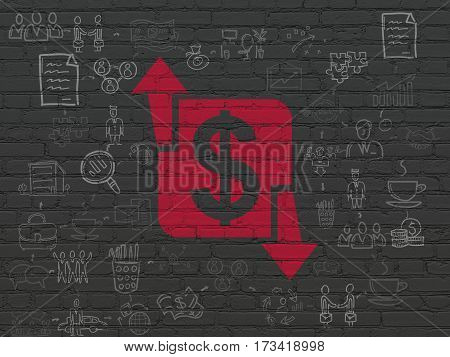 Business concept: Painted red Finance icon on Black Brick wall background with Scheme Of Hand Drawn Business Icons