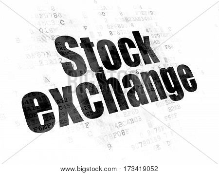 Business concept: Pixelated black text Stock Exchange on Digital background