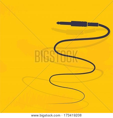 Audio cable connector symbol on the yellow background