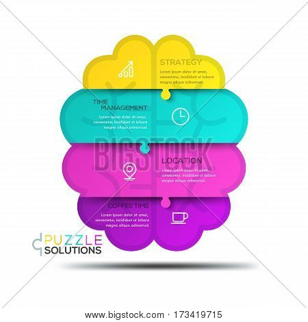 Modern infographic design template, jigsaw puzzle in shape of human brain divided into 4 pieces. Business thinking, strategy planning and time management concept. Vector illustration for presentation.