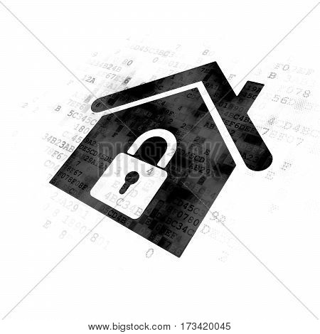 Business concept: Pixelated black Home icon on Digital background