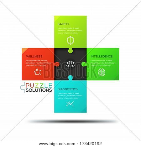 Infographic design template, jigsaw puzzle in shape of equilateral cross divided into 4 pieces. Medical care, humanitarian aid and healthcare service concept. Vector illustration for report, poster.