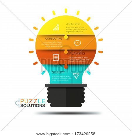 Infographic design template, jigsaw puzzle in shape of glowing light bulb divided into 4 pieces. Elements of creative process, brainstorming, idea creation concept. Vector illustration for poster, ad.