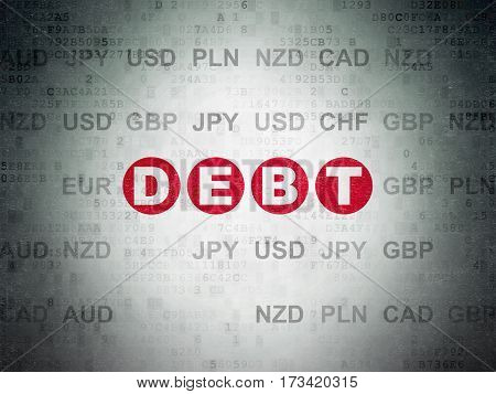 Finance concept: Painted red text Debt on Digital Data Paper background with Currency