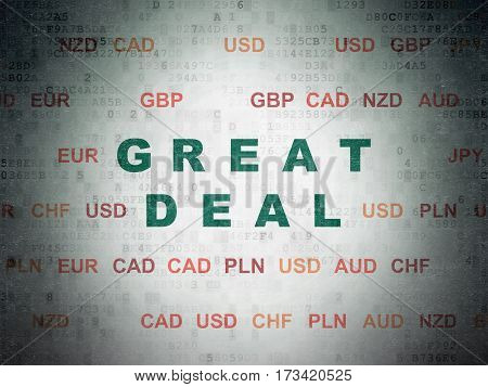 Finance concept: Painted green text Great Deal on Digital Data Paper background with Currency