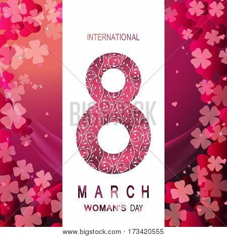8 of March Woman's Day vector envelope on the gradient red background with pocket, floral pattern, stripe, wave, text and shadow.