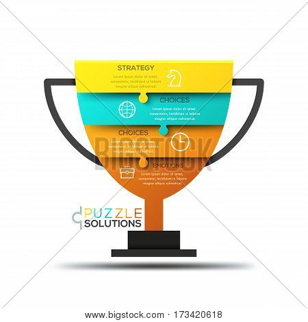 Modern infographic design template, jigsaw puzzle in shape of champion cup divided into 4 pieces. Championship strategy, tournament and competition concept. Vector illustration for website, ad.