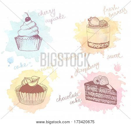 Sketches of scrumptious cupcakes berry pie and chocolate tiered cake decorated by butter cream fresh strawberries and cherries