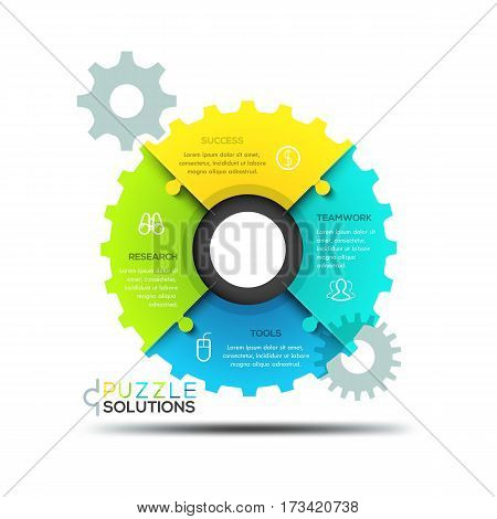 Modern infographic design layout, jigsaw puzzle in shape of gear wheel divided into 4 parts. Elements of coordinated work, mechanism of successful business development concept. Vector illustration.