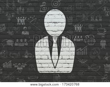 Business concept: Painted white Business Man icon on Black Brick wall background with  Hand Drawn Business Icons