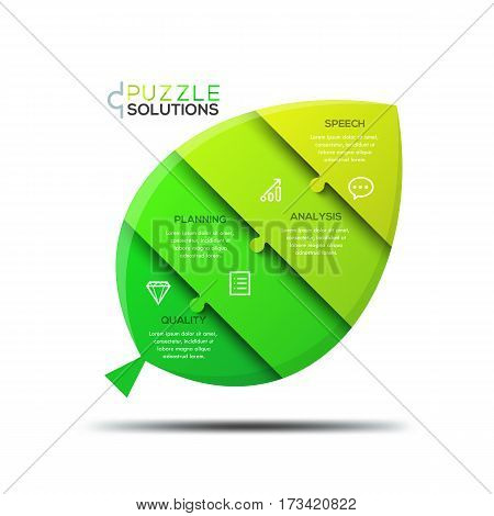 Infographic design template, jigsaw puzzle in shape of green leaf divided into 4 parts. Steps of ecological recycling. Ecology, environmental and eco-friendly technology concept. Vector illustration.