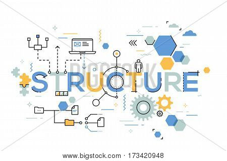 Structural organization of business process, arranging structure and planning concept. Creative infographic banner with elements in thin line style. Vector illustration for poster, header, website.