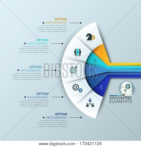 Creative infographic design layout, 5 connected sectoral lettered elements and text boxes. Fan chart. Features of business project, steps to success concept. Vector illustration for presentation.