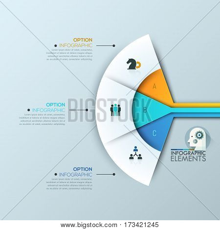 Modern infographic design layout, 3 connected sectoral lettered elements and text boxes. Fan chart. Steps of business project development concept. Vector illustration for website, presentation.