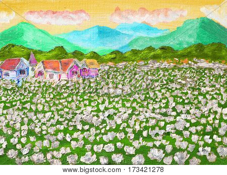 Hand painted illustration, oil painting, summer landscape - meadow with white flowers with hills and houses.