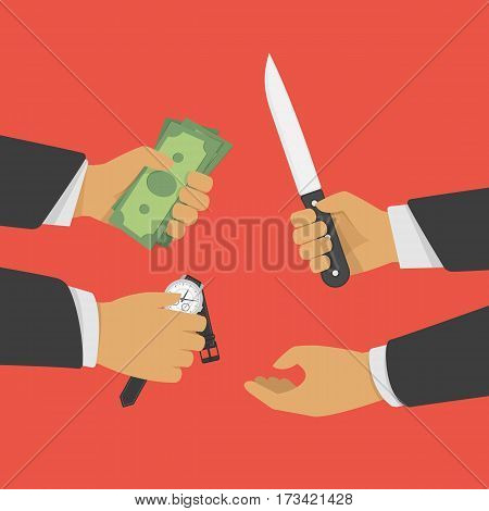 Robbery scene with thief and victims. Thief stealing money and wrist watch from a businessman. Crime, assault concept. Vector illustration in flat style. EPS 10.
