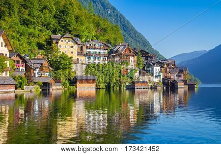 Historic Town Of Hallstatt In Summer, Salzkammergut, Austria
