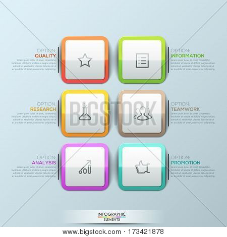 Modern infographic design template, 6 multicolored rounded squares with pictograms and text boxes. Elements of company description. Vector illustration for corporate website, presentation, report.