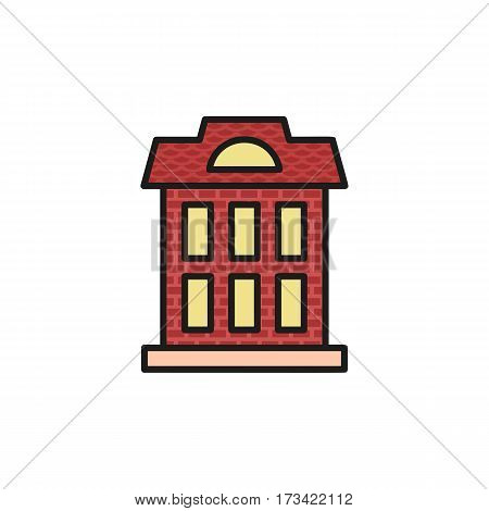 Isolated vinous color low-rise municipal house in lineart style icon, element of urban architectural building vector illustration