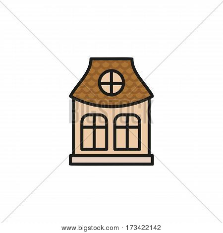 Isolated pink color low-rise municipal house in lineart style icon, element of urban architectural building vector illustration