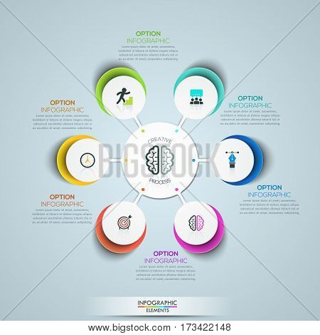 Modern infographic design template, circular flower petal diagram with 6 multicolored elements connected with center. Features of creative process. Vector illustration for website, presentation, ad.