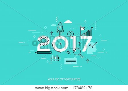 Infographic concept 2017 year of opportunities. New trends and prospects in startups, business development, profit growth strategies. Plans and expectations. Vector illustration in thin line style.