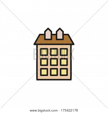 Isolated brown color low-rise municipal house in lineart style icon, element of urban architectural building vector illustration
