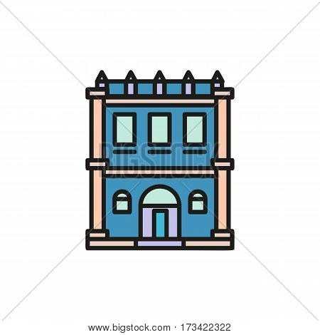 Isolated blue color low-rise municipal house in lineart style icon, element of urban architectural building vector illustration