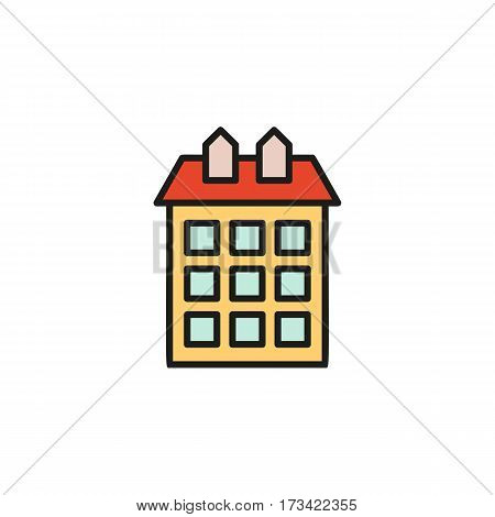 Isolated orange color low-rise municipal house in lineart style icon, element of urban architectural building vector illustration