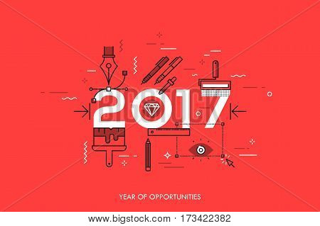Infographic banner 2017 year of opportunities. New trends and prospects in graphic, web and digital design, concepts, techniques and tools for designers. Vector illustration in thin line style.