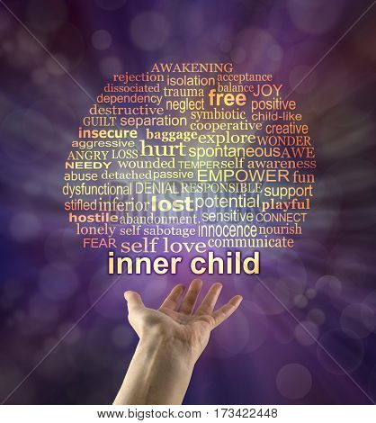 Reach out to your Inner Child - hand held with palm up and the words INNER CHILD floating above with a relevant word cloud above on a purple bokeh background